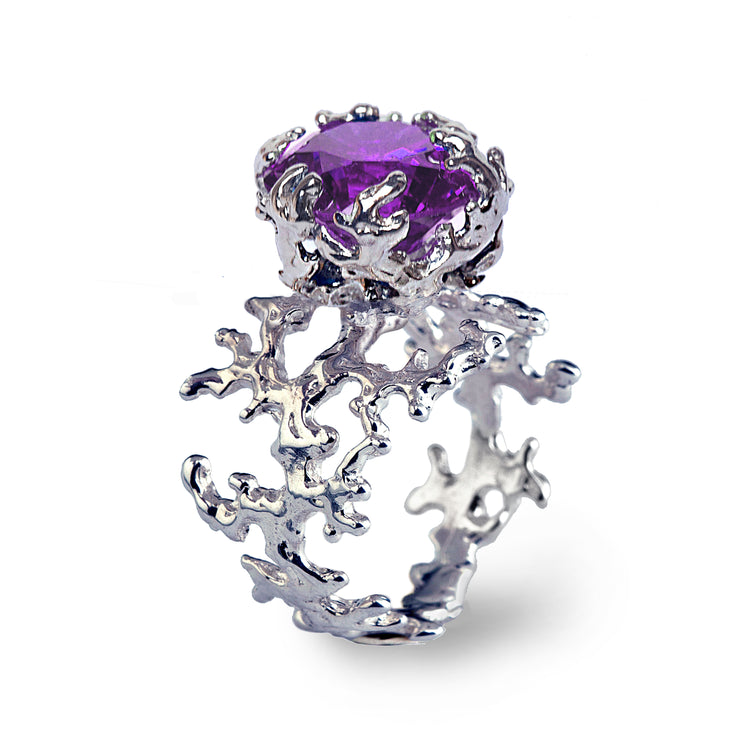 Coral Amethyst Ring