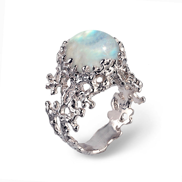 Coral Moonstone Ring