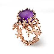 Coral Amethyst Rose Gold Ring