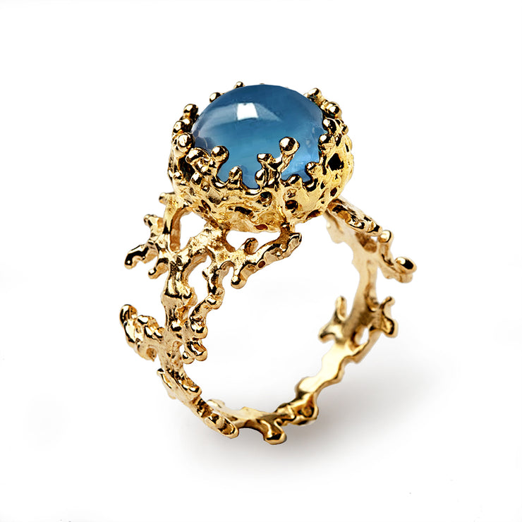 Coral London Blue Topaz Gold Ring