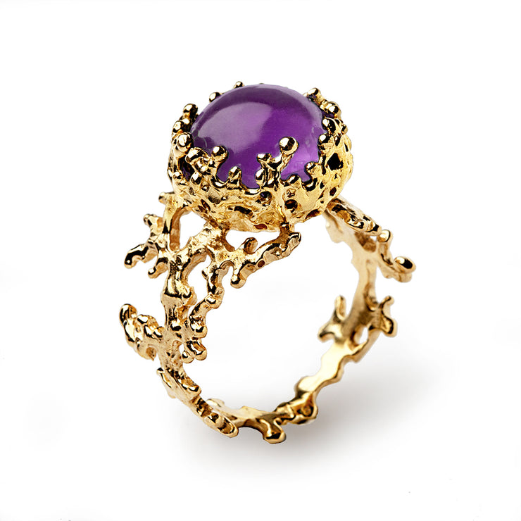 Coral Amethyst Gold Ring