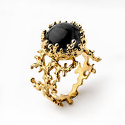 Coral Gold Onyx Ring