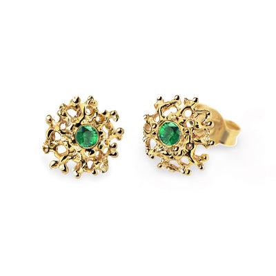 Coral Emerald Gold Earrings