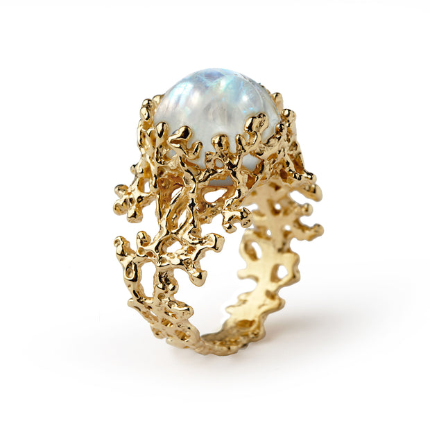 Coral Moonstone Gold Ring
