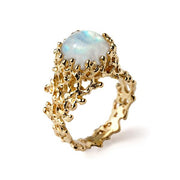 arosha taglia rainbow moonstone gold ring