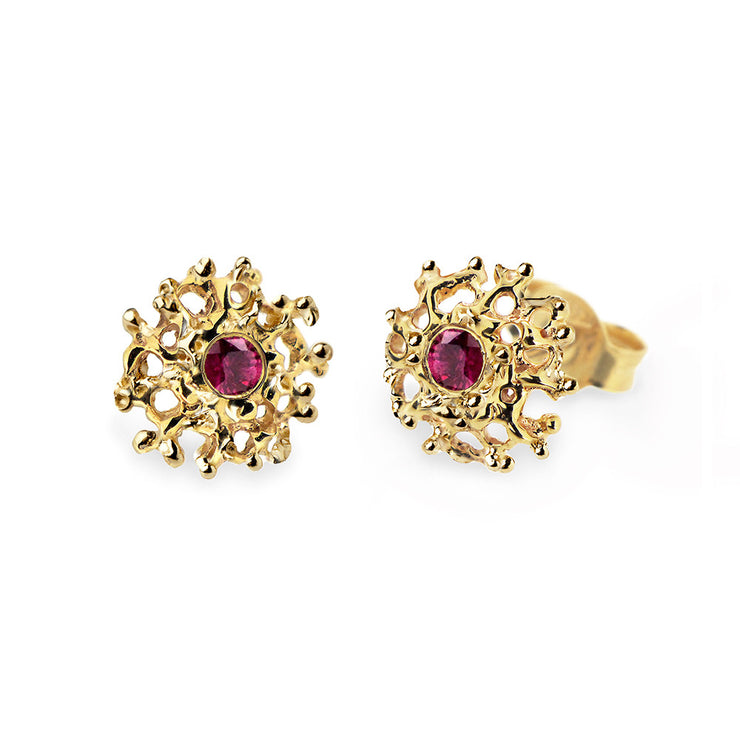Coral Ruby Gold Earrings