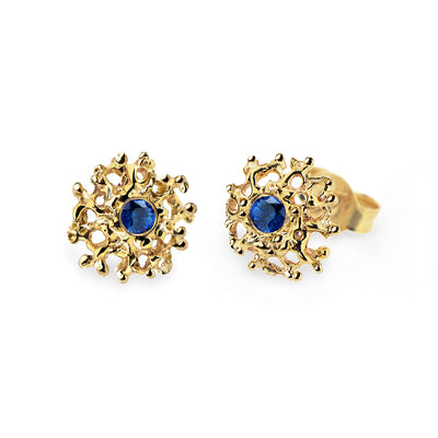 Coral Sapphire Gold Earrings