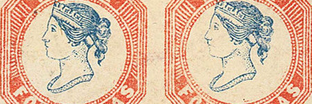 1854 4 annas pair to auction in Singapore stamp sale
