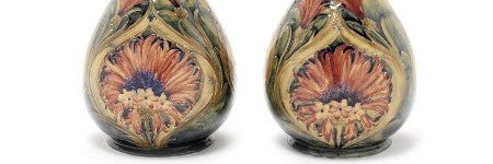 Moorcroft Cornflower vases to top Ken Manley Collection at $15,500