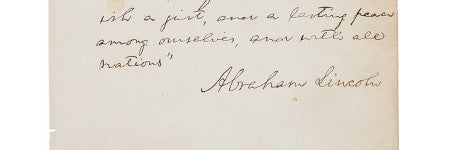 Abraham Lincoln handwritten page to auction