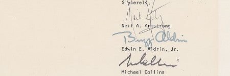 Apollo 11 crew signed letter to auction on August 12