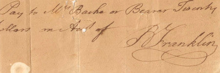 Benjamin Franklin signed cheque valued at $20,000