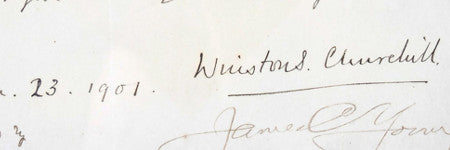 Winston Churchill signed bet estimated at $35,500