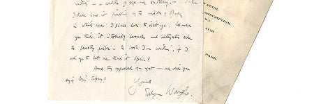 Evelyn Waugh handwritten letter to auction at Bonhams on June 18