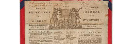 Declaration of Independence newspaper printing to sell at Doyle