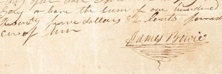 James Bowie autographed note realises $62,500 on March 14