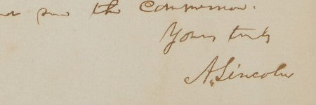 Abraham Lincoln autographed note to auction