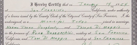 Monroe and DiMaggio's wedding certificate to sell