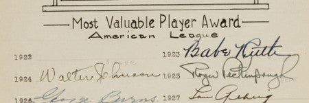 Baseball's Most Valuable Player signatures to make $40,000?
