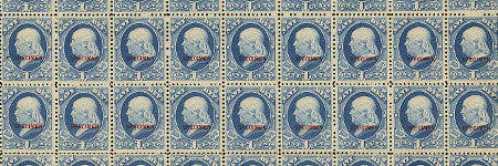 1881 1c Navy sheet of 100 to highlight US Officials sale