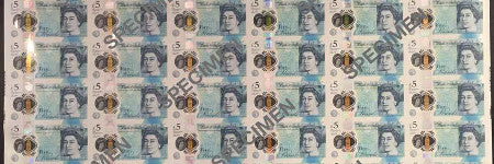 British 2016 polymer £5 note sheet sells for $11,000