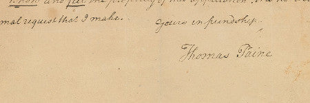Thomas Paine handwritten letter valued at $20,000