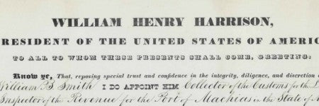 William Henry Harrison signed document makes $75,000