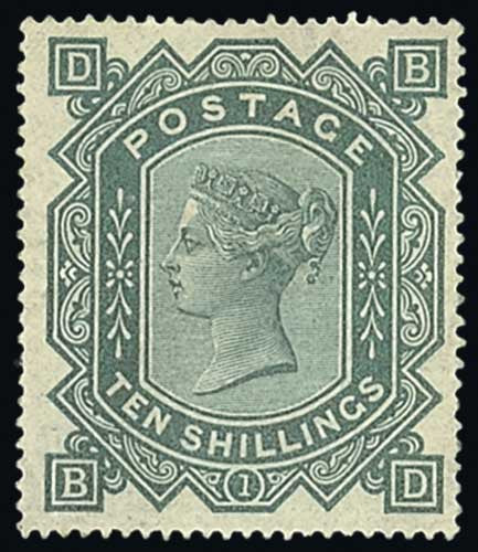 10 Shilling Greenish-Grey stamp 1867