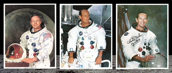 signed photographs of Neil Armstrong, Pete Conrad and Charlie Duke