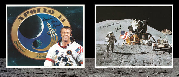 Signed photographs of Alan Shepard and John Young