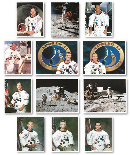 Signed photographs of the 12 Apollo moonwalkers astronauts