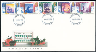1988 Christmas stamps including the 13p on a cover