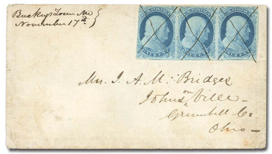 1851 blue stamps