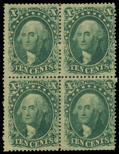 1857 10-cent stamp block of four US