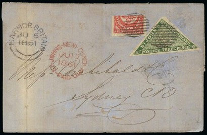 1861 Newfoundland cover with bisected stamp
