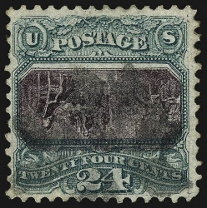 1869 24c green and violet centre invert