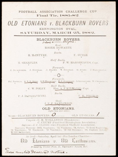 1882 FA Cup programme