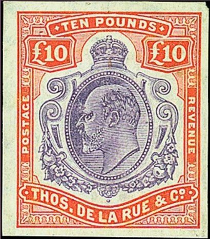 1907 Straits Settlements £10 Colour Trial Stamp