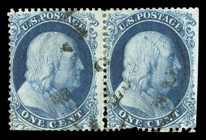 Extremely unusual example of a 1c Blue Pair Block