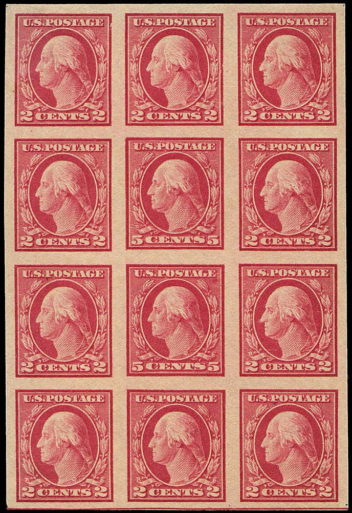 5 cents in 2 cents rare 1917 Washington stamp block