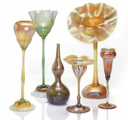 A Selection of Decorated and Floriform Favrile Glass Vases