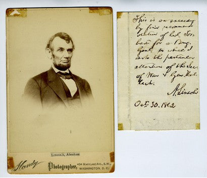 Abraham Lincoln letter thanks