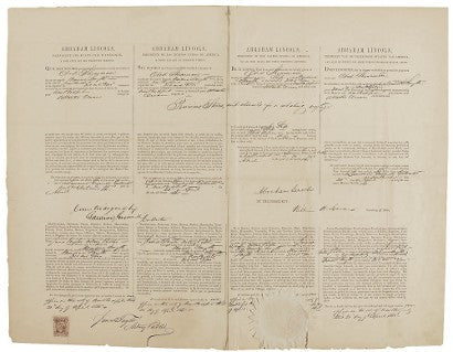 Abraham Lincoln posthumous signed document