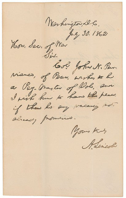 Abraham Lincoln appointment letter