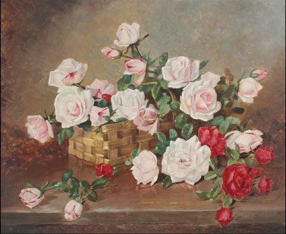 Achille Lauge Basket of Flowers painting