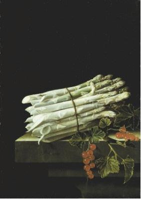 Adriaen Coorte Asparagus and Red Currants on a Plinth