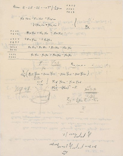 Albert Einstein Handwritten calculations
