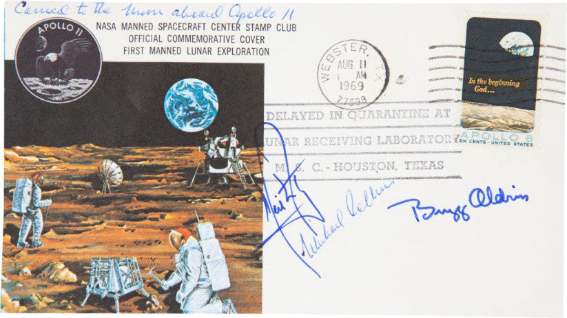 Triple-signed, flown Apollo 11 cover