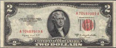 Apollo 15 space-flown $2 bill/banknote carried by Al Worden