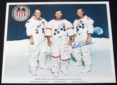 Apollo 16 lithograph signed Mattingly Young Duke